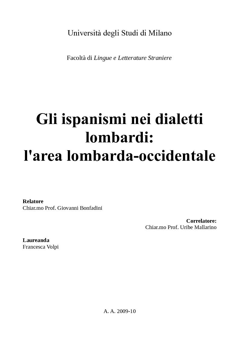 Anteprima della tesi: Gli ispanismi nei dialetti lombardi: l'area lombarda-occidentale, Pagina 1