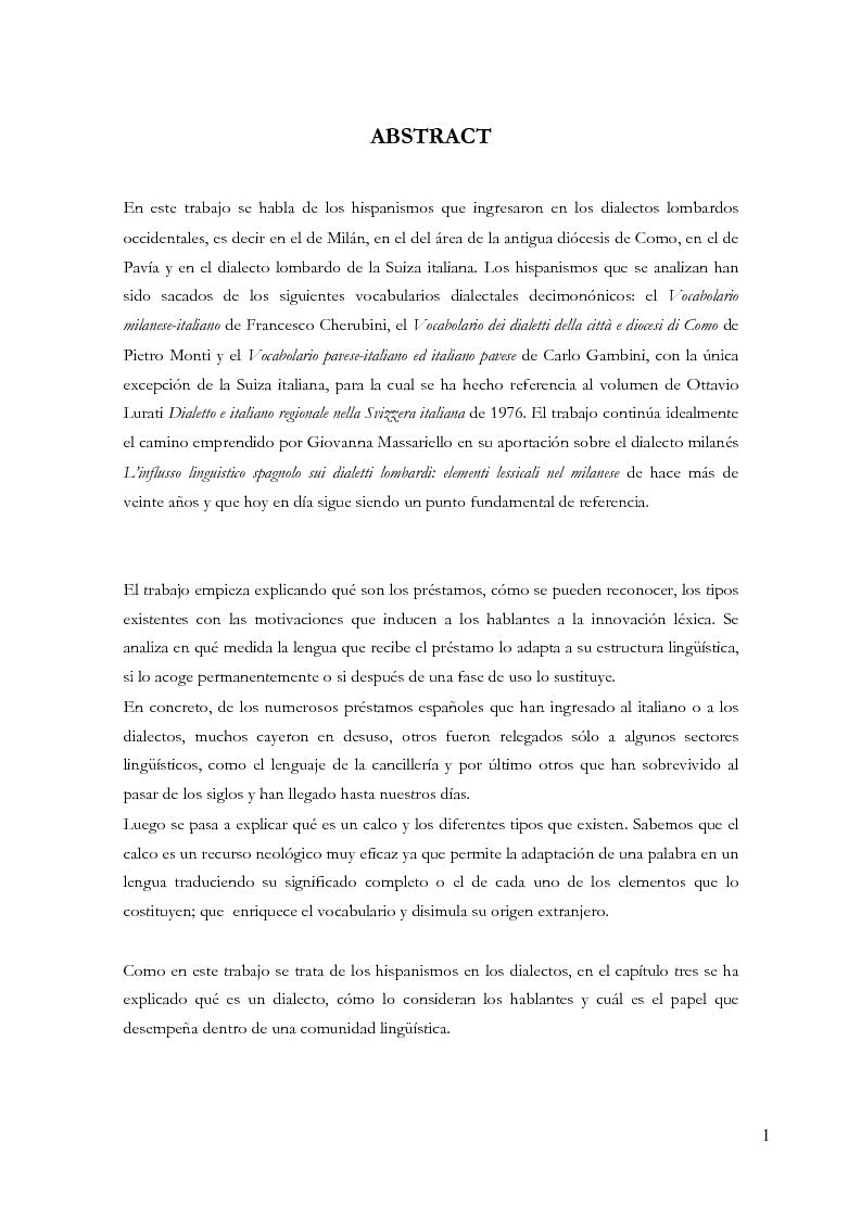 Anteprima della tesi: Gli ispanismi nei dialetti lombardi: l'area lombarda-occidentale, Pagina 2