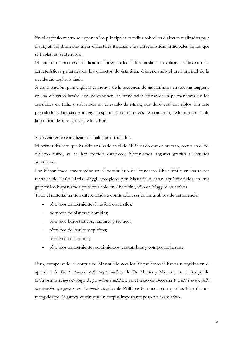 Anteprima della tesi: Gli ispanismi nei dialetti lombardi: l'area lombarda-occidentale, Pagina 3