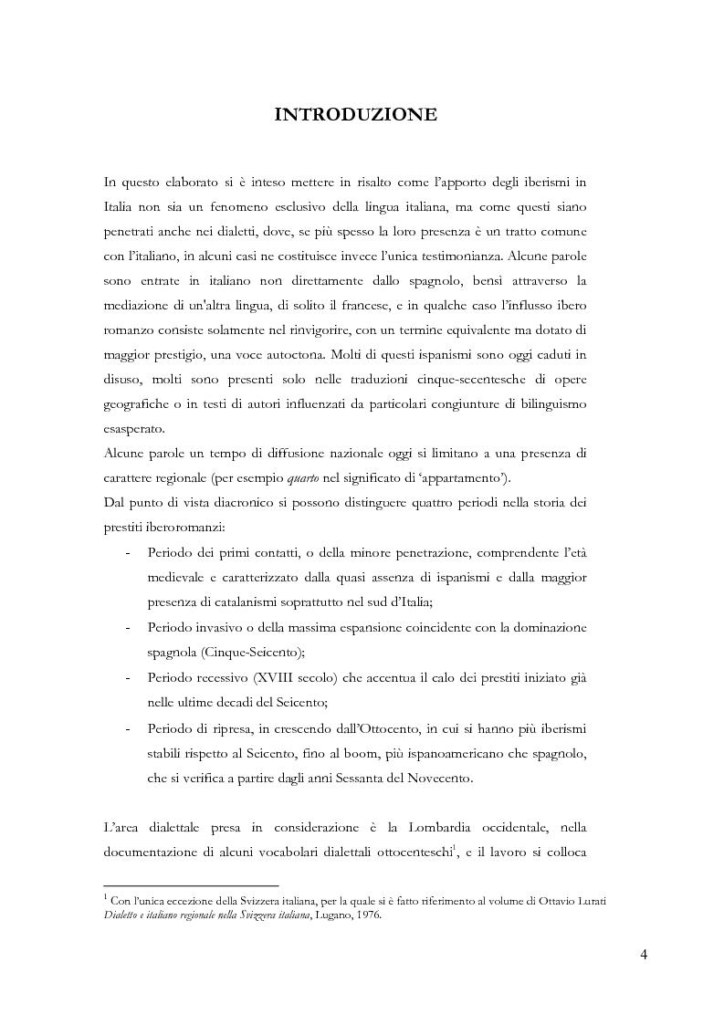 Anteprima della tesi: Gli ispanismi nei dialetti lombardi: l'area lombarda-occidentale, Pagina 5