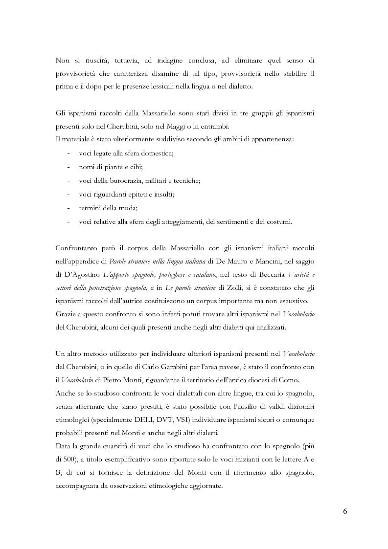 Anteprima della tesi: Gli ispanismi nei dialetti lombardi: l'area lombarda-occidentale, Pagina 7