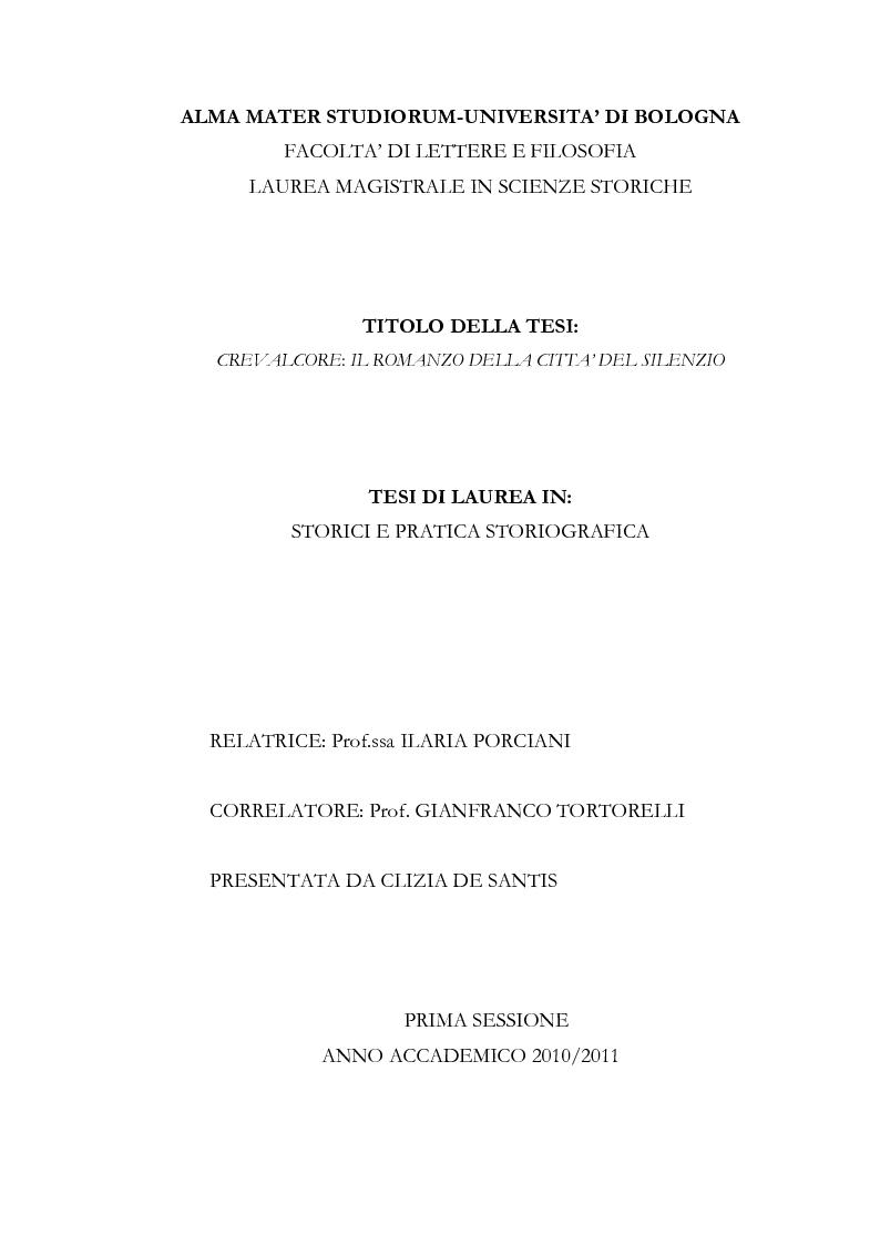 Anteprima della tesi: Crevalcore: il romanzo della città del silenzio, Pagina 1