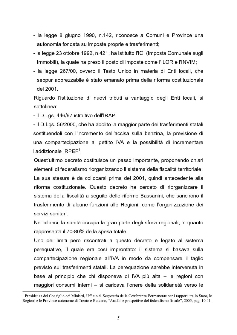 Anteprima della tesi: Concetto di costo standard nel federalismo fiscale, Pagina 4