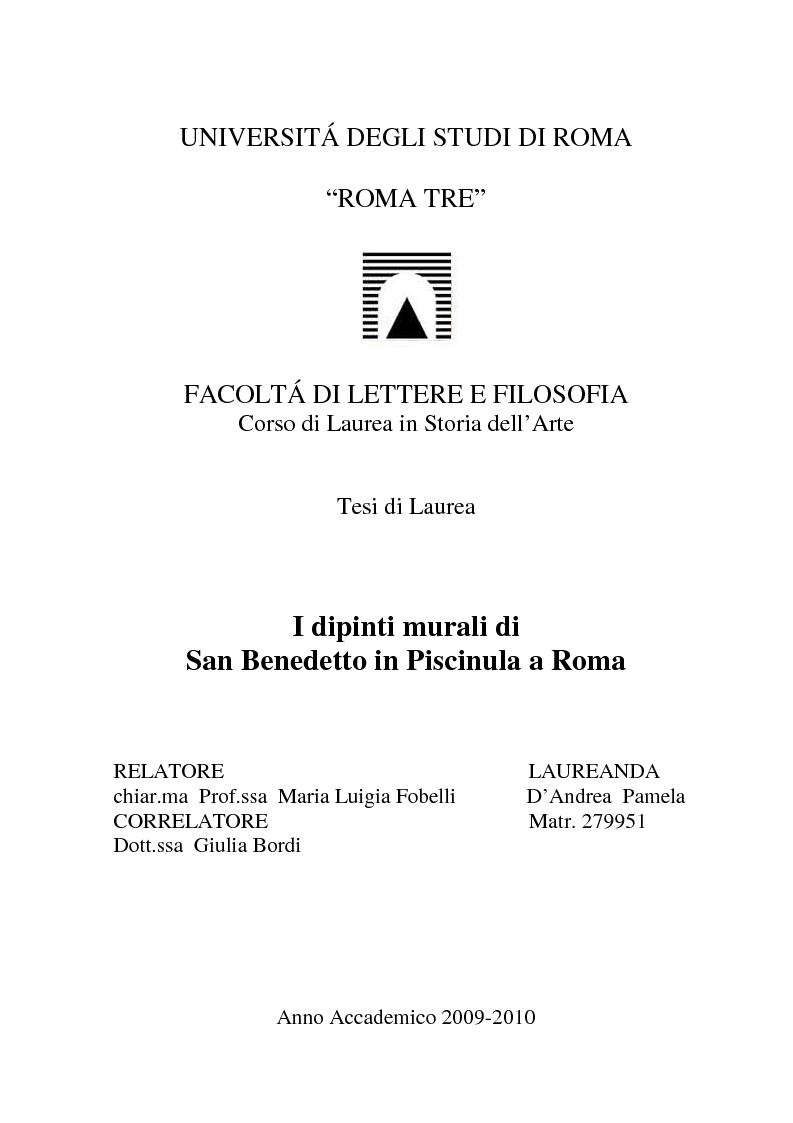 Anteprima della tesi: I dipinti murali di S. Benedetto in Piscinula a Roma, Pagina 1