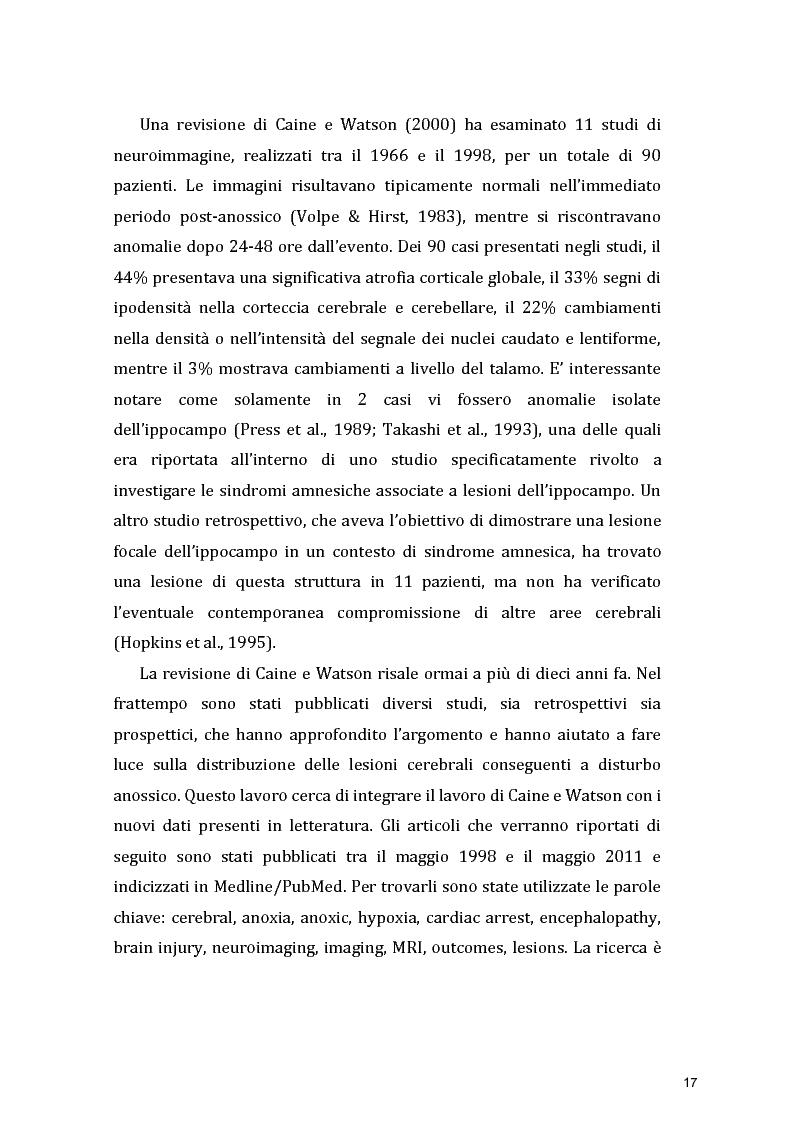 Estratto dalla tesi: Funzioni Esecutive e Cognizione Sociale nei danni diffusi da Anossia Cerebrale: studio di 5 casi clinici
