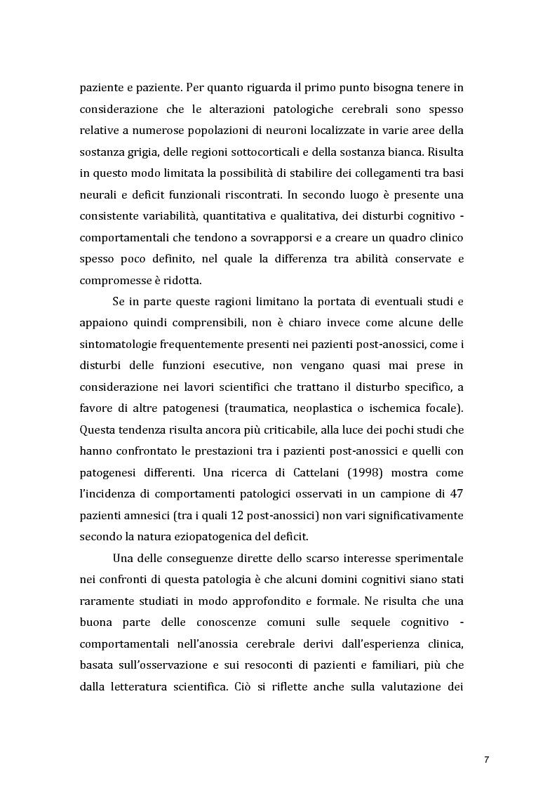 Anteprima della tesi: Funzioni Esecutive e Cognizione Sociale nei danni diffusi da Anossia Cerebrale: studio di 5 casi clinici, Pagina 5