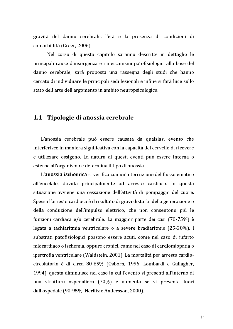 Anteprima della tesi: Funzioni Esecutive e Cognizione Sociale nei danni diffusi da Anossia Cerebrale: studio di 5 casi clinici, Pagina 9