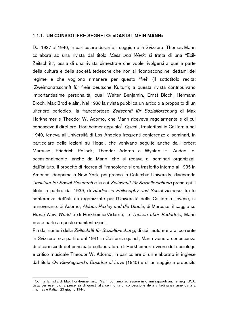 Anteprima della tesi: Thomas Mann e Adrian Leverkühn. L'ideazione del romanzo «Doktor Faustus» tra Wagner, Adorno e Schönberg, Pagina 2