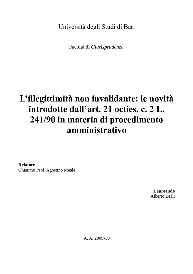 Anteprima della tesi: L'illegittimità non invalidante: le novità introdotte dall'art. 21 octies, c. 2 L. 241/90 in materia di procedimento amministrativo, Pagina 1