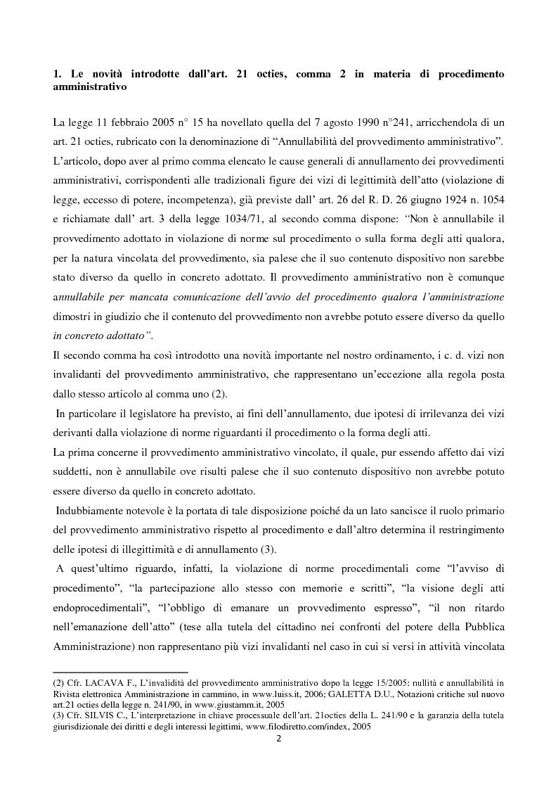 Anteprima della tesi: L'illegittimità non invalidante: le novità introdotte dall'art. 21 octies, c. 2 L. 241/90 in materia di procedimento amministrativo, Pagina 2