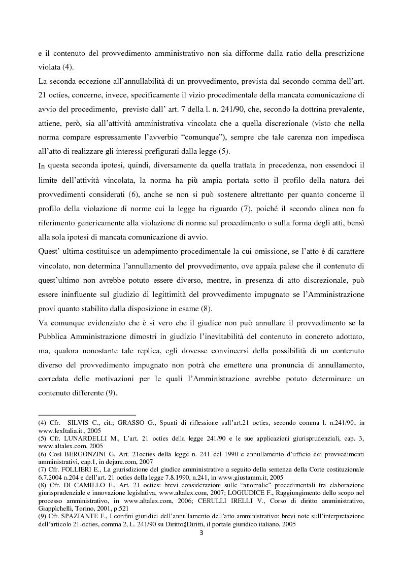 Anteprima della tesi: L'illegittimità non invalidante: le novità introdotte dall'art. 21 octies, c. 2 L. 241/90 in materia di procedimento amministrativo, Pagina 3