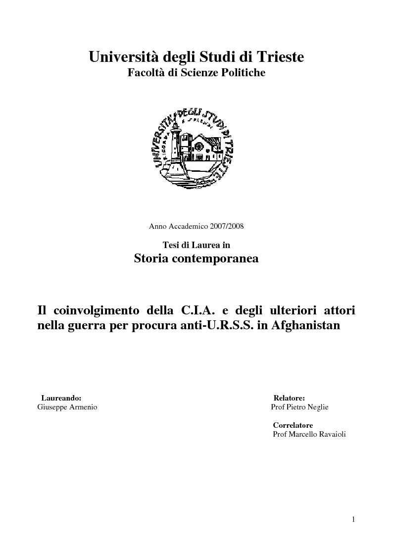 Anteprima della tesi: Il coinvolgimento della Cia e degli ulteriori attori nella guerra per procura anti-Urss in Afghanistan, Pagina 1