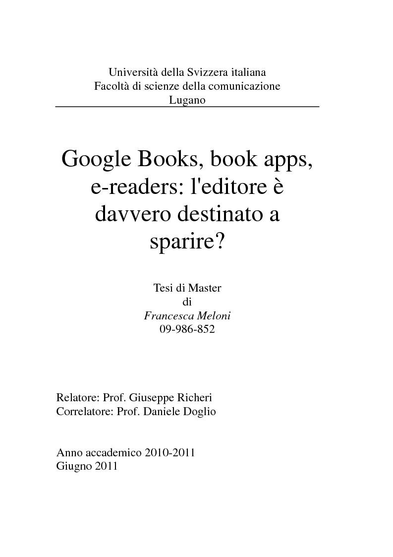 Anteprima della tesi: Google Books, book apps, e-readers: l'editore è davvero destinato a sparire?, Pagina 1