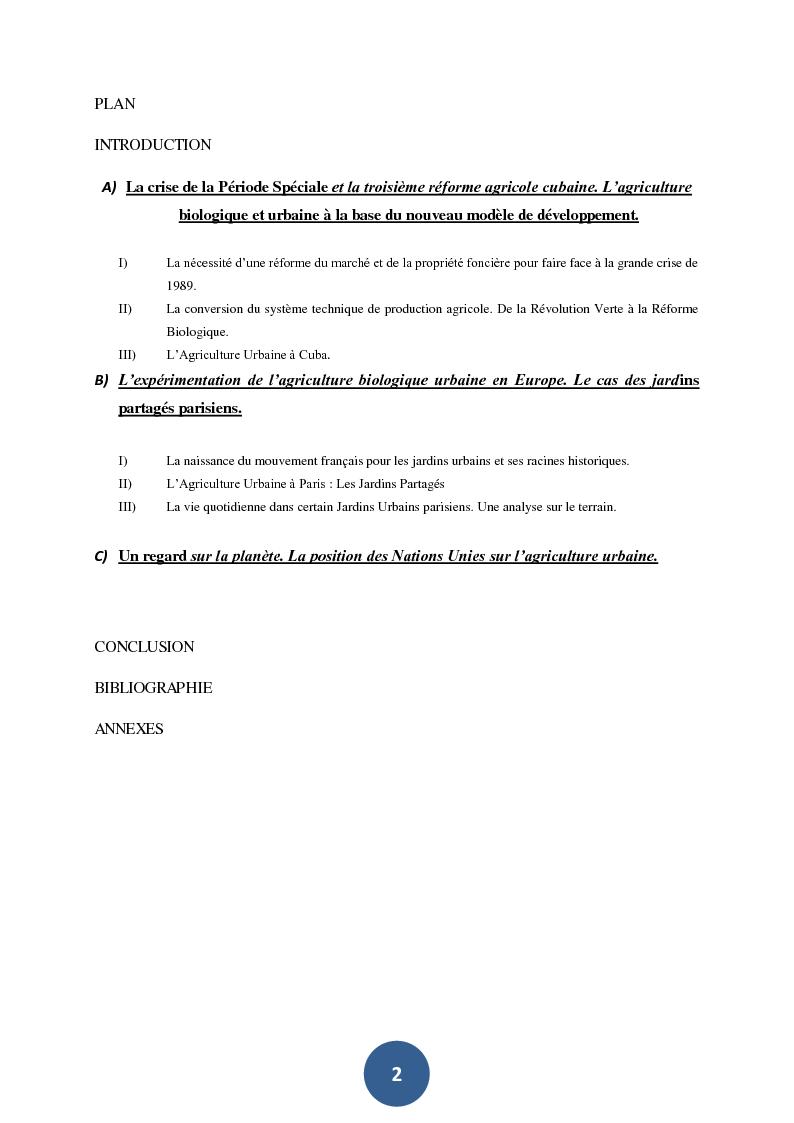Indice della tesi: Cultivons la ville. Les différents objectifs de l'agriculture urbaine à l'Havane et à Paris., Pagina 1