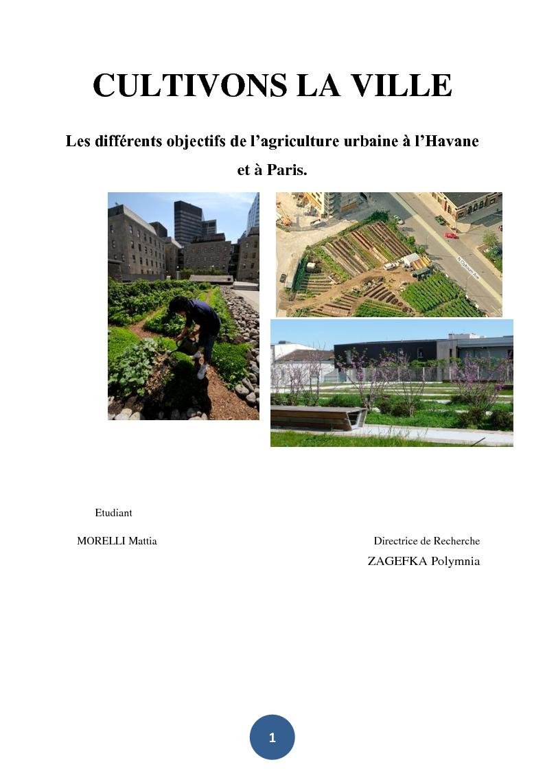 Anteprima della tesi: Cultivons la ville. Les différents objectifs de l'agriculture urbaine à l'Havane et à Paris., Pagina 1
