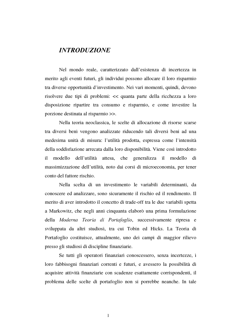 Anteprima della tesi: Le scelte di investimento e la gestione di portafoglio, Pagina 2