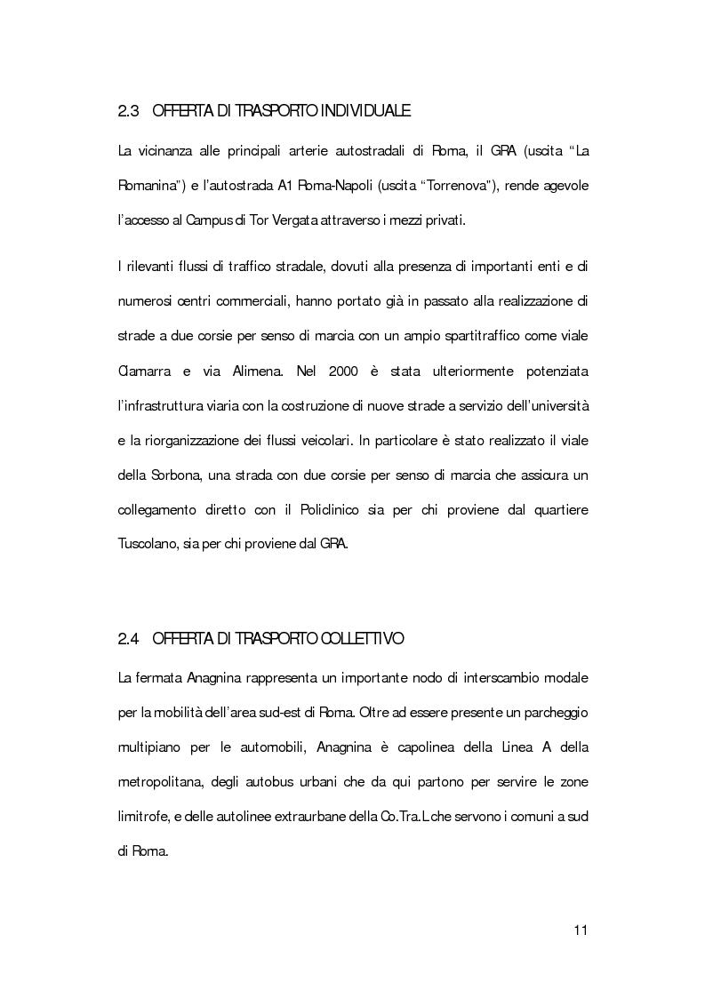 Anteprima della tesi: La mobilità degli studenti universitari: un sistema di modelli per il Campus di Tor Vergata, Pagina 7