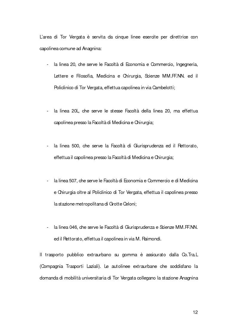 Anteprima della tesi: La mobilità degli studenti universitari: un sistema di modelli per il Campus di Tor Vergata, Pagina 8