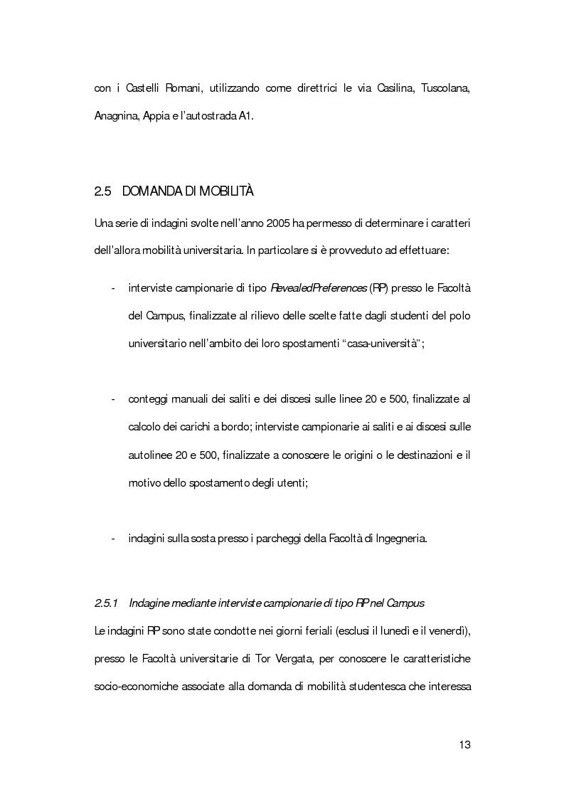 Anteprima della tesi: La mobilità degli studenti universitari: un sistema di modelli per il Campus di Tor Vergata, Pagina 9