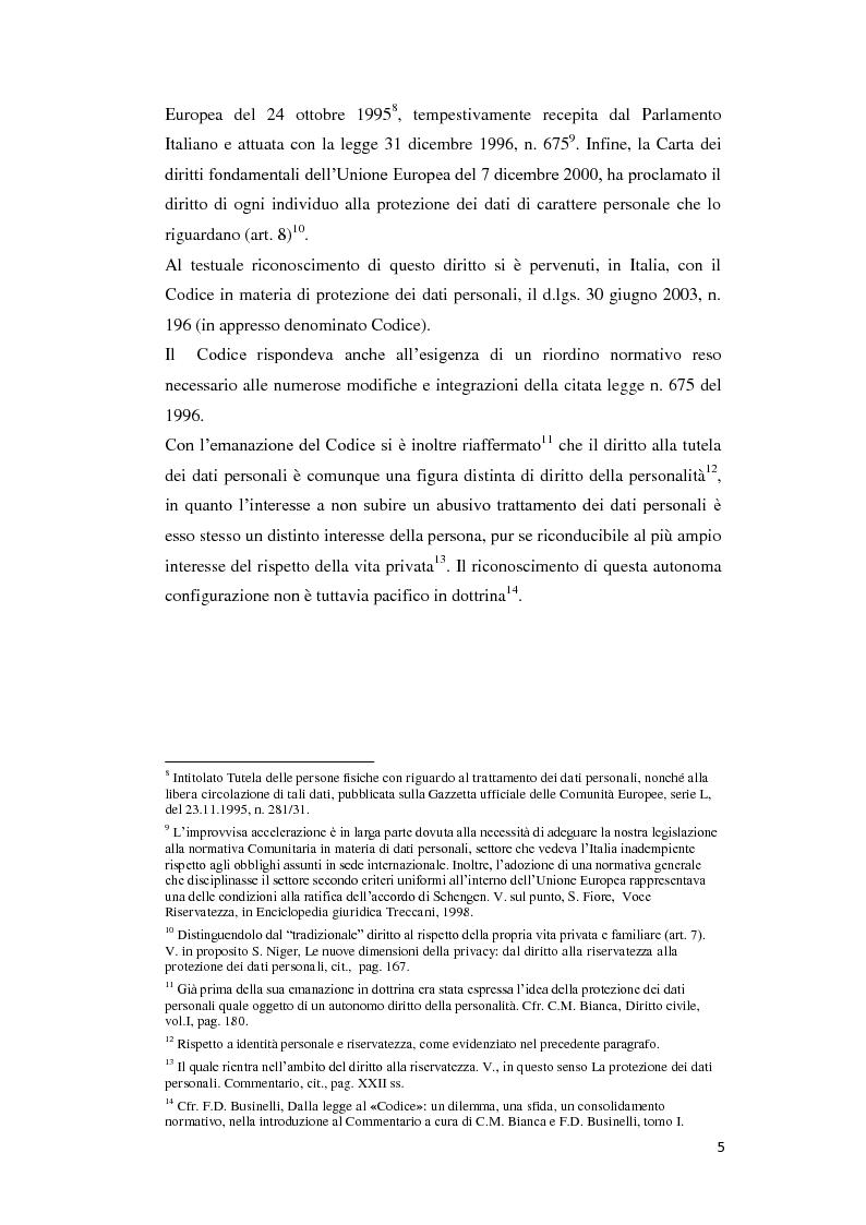 Anteprima della tesi: Il diritto alle privacy e le deroghe speciali a favore degli operatori dell'informazione, Pagina 4
