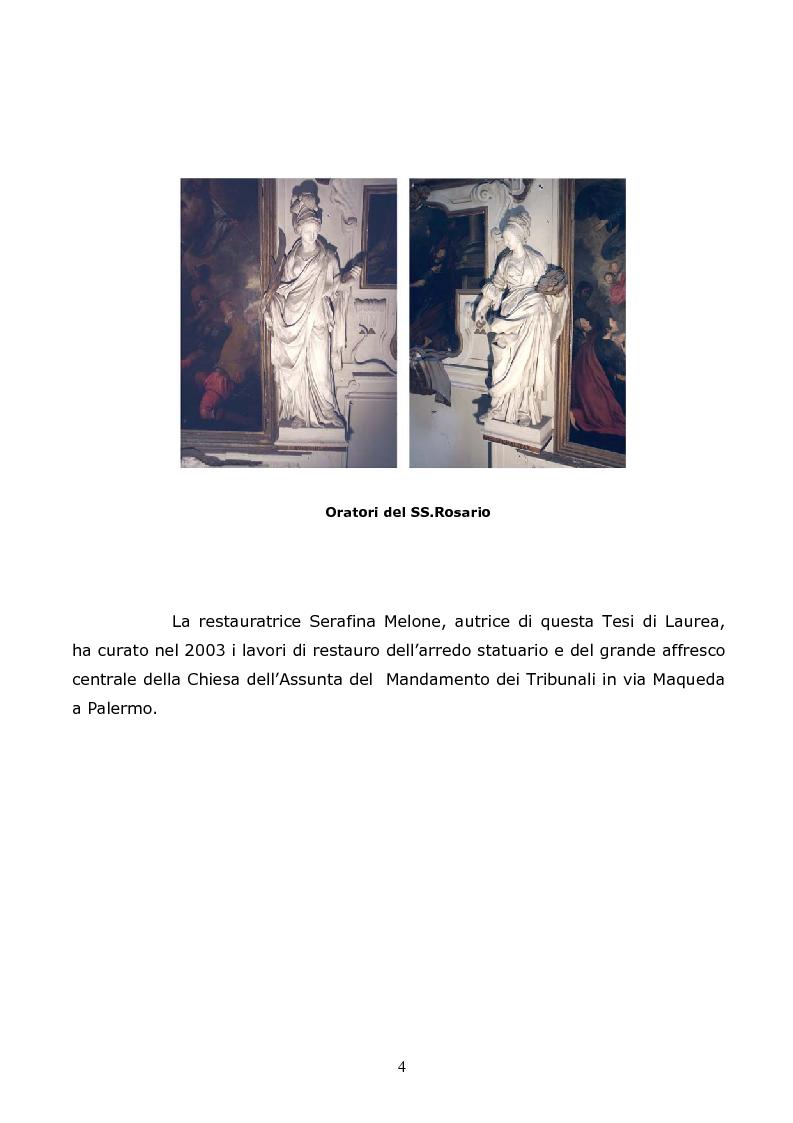Anteprima della tesi: Stucchi di Giacomo e Procopio Serpotta. Restauro dell'arredo statuario della chiesa dell'Assunta in Palermo, Pagina 3
