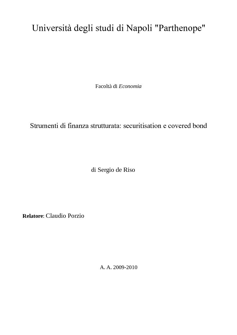 Anteprima della tesi: Strumenti di finanza strutturata: securitisation e covered bond, Pagina 1