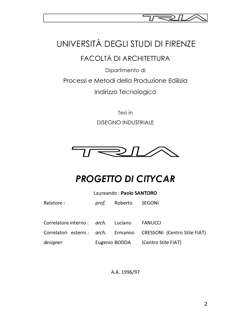 Tria, progetto di citycar - Tesi di Laurea
