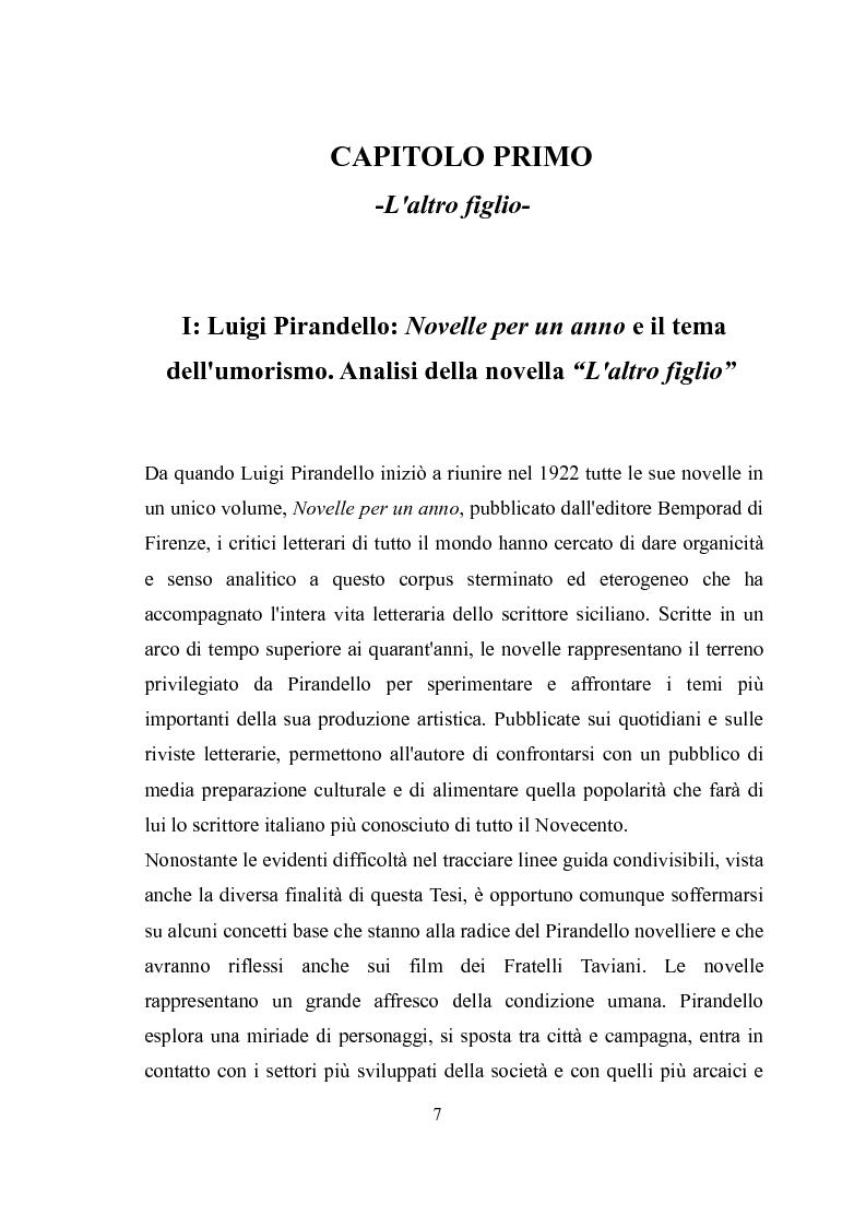 Anteprima della tesi: ''Kaos'' e ''Tu ridi'': i fratelli Taviani interpretano Luigi Pirandello, Pagina 6