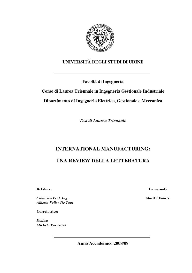 Anteprima della tesi: International Manufacturing: una review della letteratura, Pagina 1