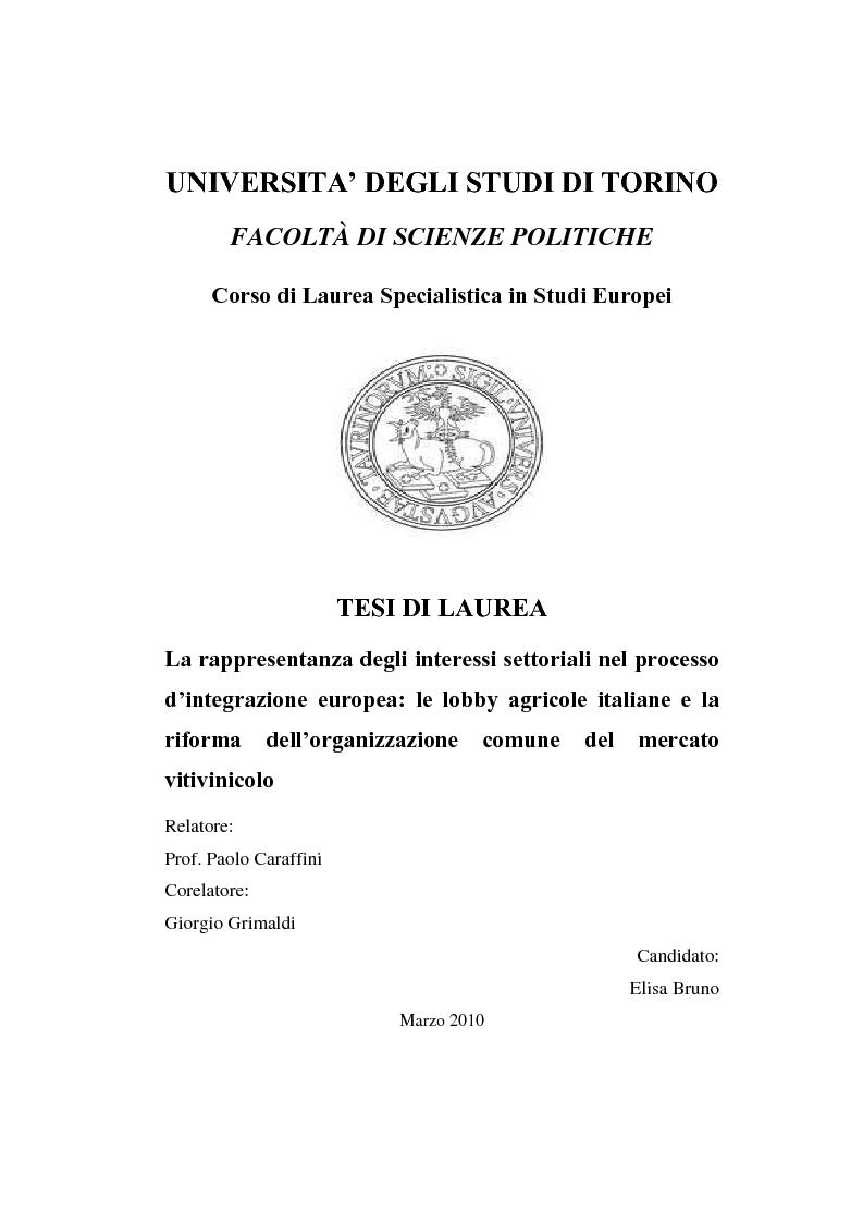 Anteprima della tesi: La rappresentanza degli interessi settoriali nel processo d'integrazione europea: le lobby agricole italiane e la riforma dell'organizzazione comune del mercato vitivinicolo, Pagina 1