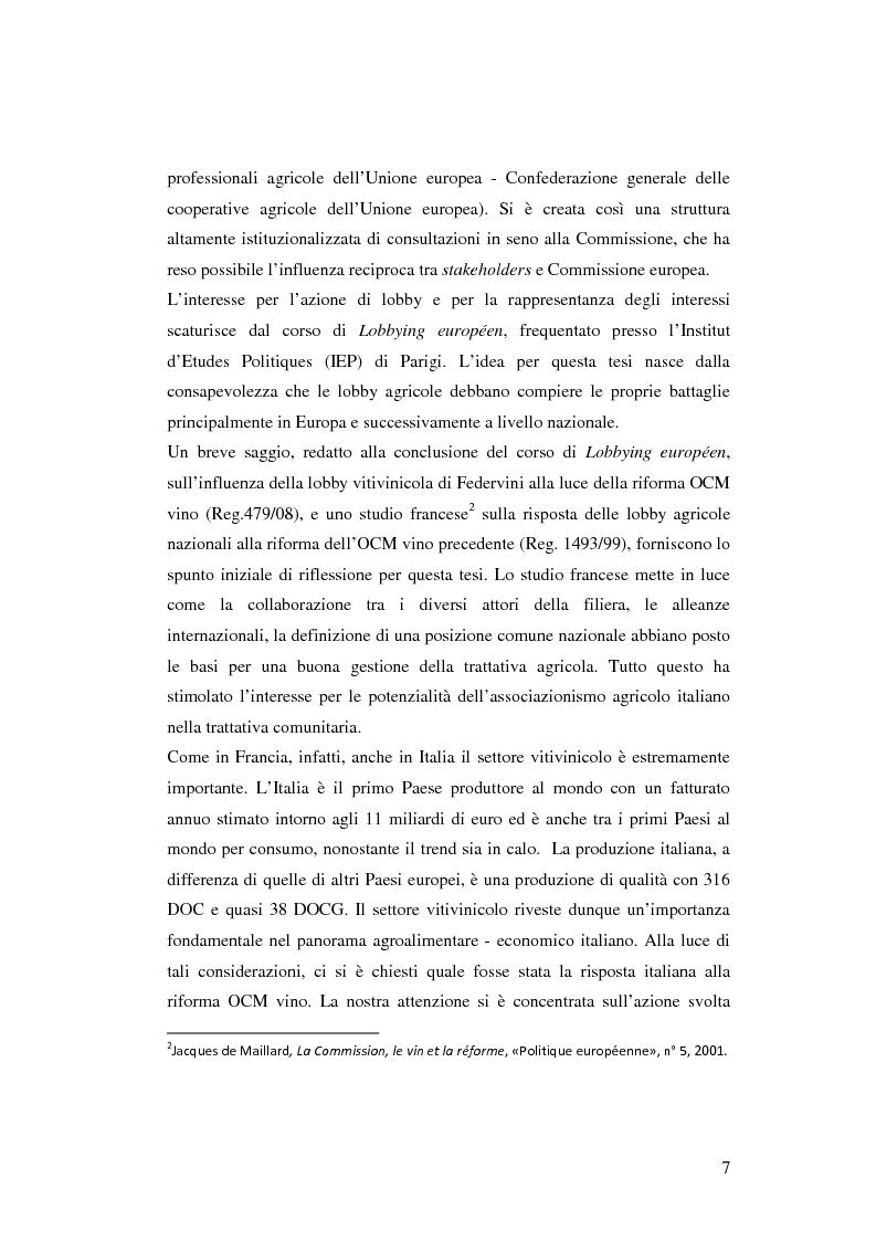 Anteprima della tesi: La rappresentanza degli interessi settoriali nel processo d'integrazione europea: le lobby agricole italiane e la riforma dell'organizzazione comune del mercato vitivinicolo, Pagina 3