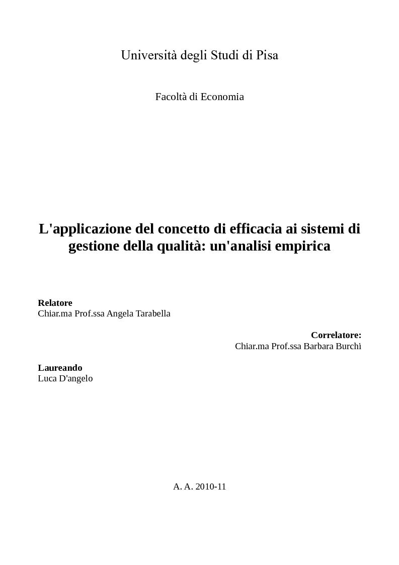 Anteprima della tesi: L'applicazione del concetto di efficacia ai sistemi di gestione della qualità: un'analisi empirica, Pagina 1