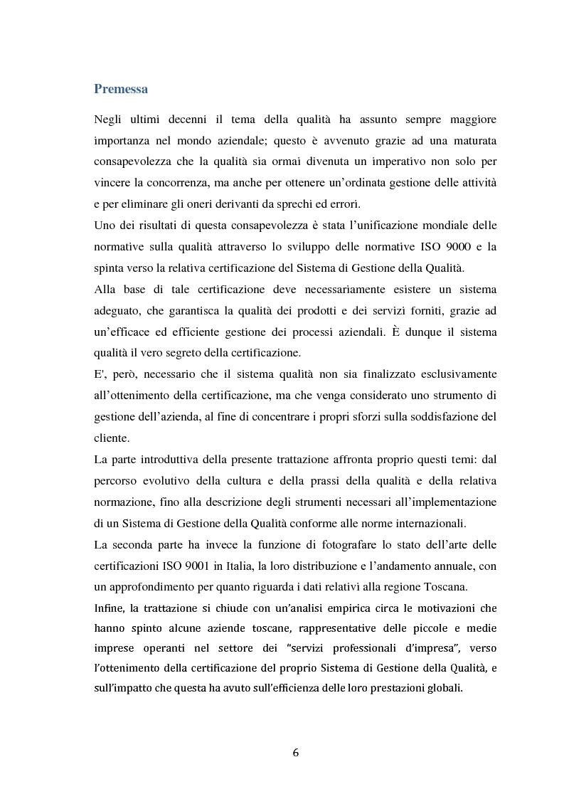 Anteprima della tesi: L'applicazione del concetto di efficacia ai sistemi di gestione della qualità: un'analisi empirica, Pagina 2