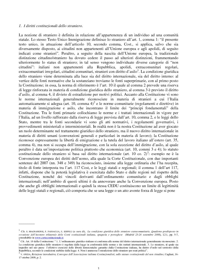 Anteprima della tesi: Reato di clandestinità e la circostanza aggravante di clandestinità nella recente giurisprudenza della Corte Costituzionale, Pagina 3