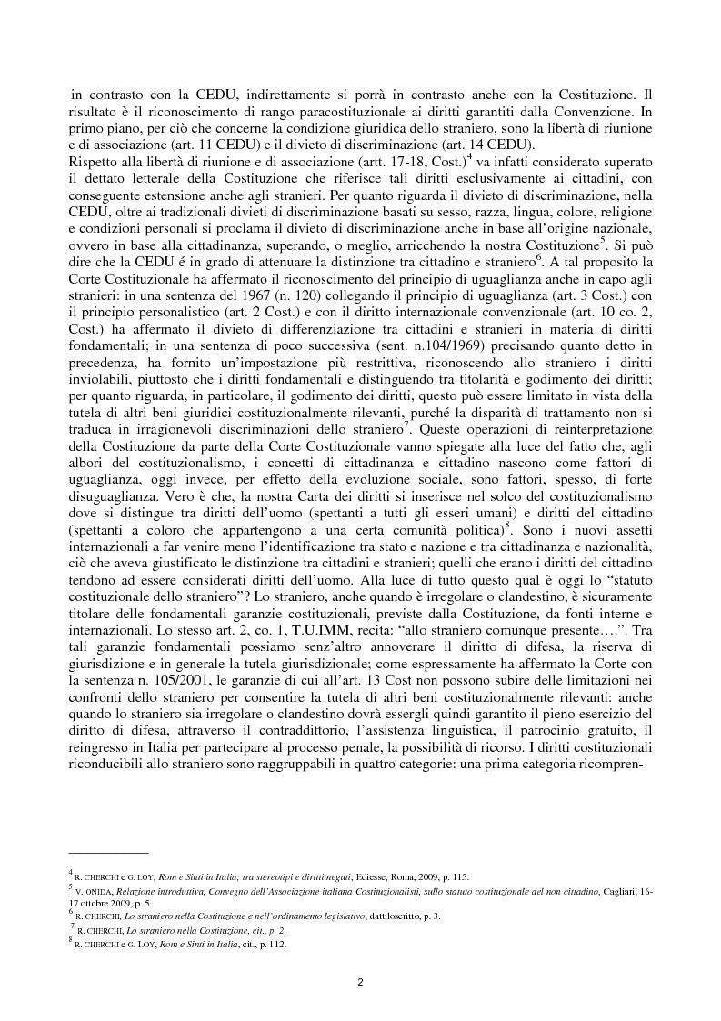 Anteprima della tesi: Reato di clandestinità e la circostanza aggravante di clandestinità nella recente giurisprudenza della Corte Costituzionale, Pagina 4