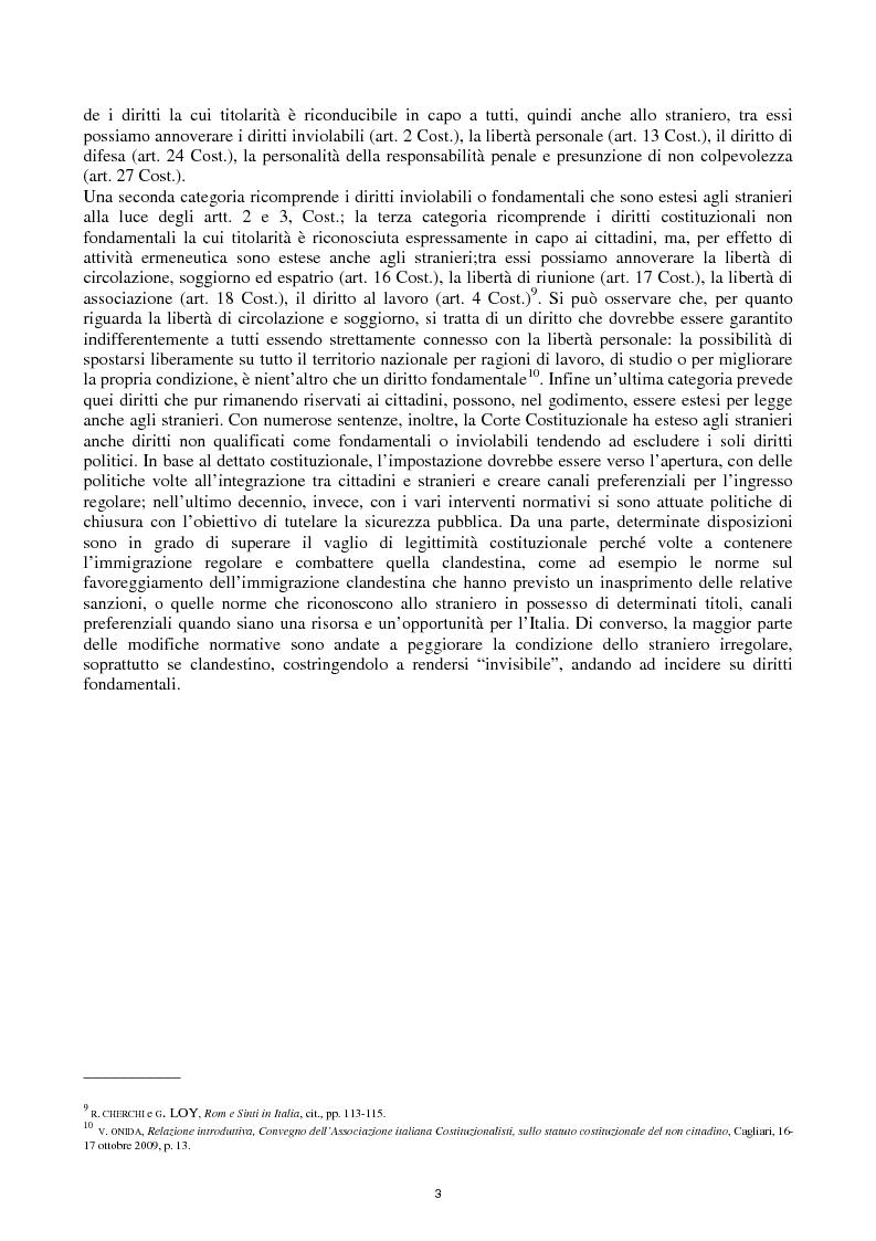 Anteprima della tesi: Reato di clandestinità e la circostanza aggravante di clandestinità nella recente giurisprudenza della Corte Costituzionale, Pagina 5