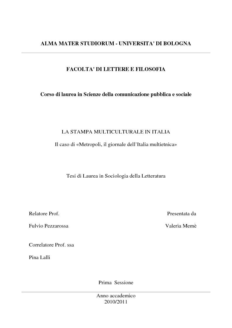 Alma mater studiorum universita 39 di bologna facolta 39 di for Metropoli in italia