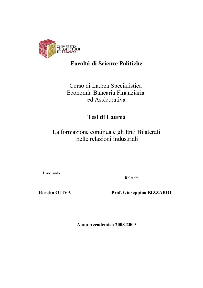 Anteprima della tesi: La formazione continua e gli Enti Bilaterali nelle relazioni industriali, Pagina 1