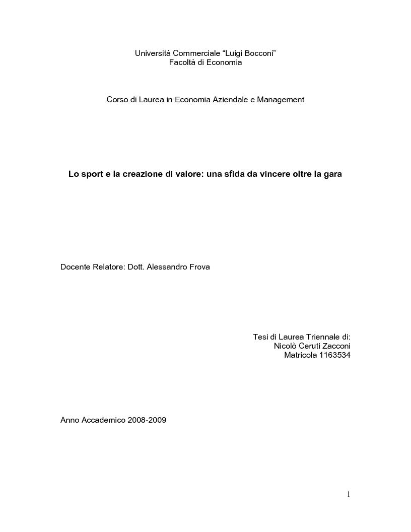 Anteprima della tesi: Lo sport e la creazione di valore: una sfida da vincere oltre la gara, Pagina 1