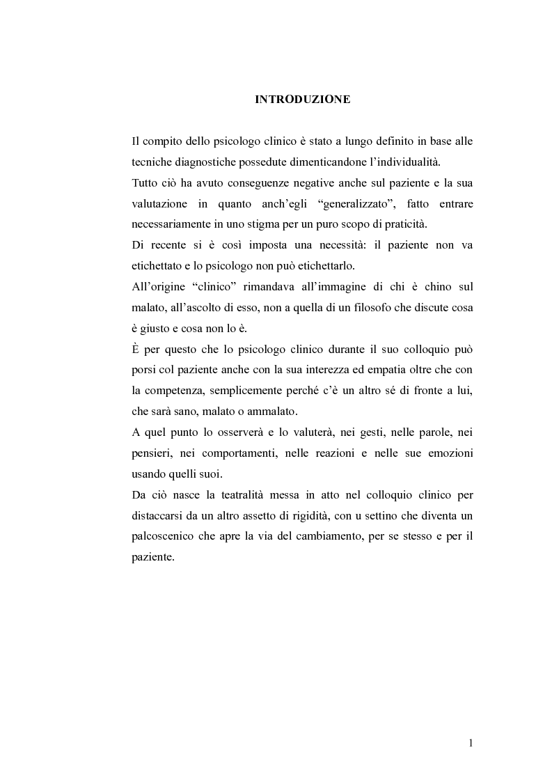 L'inserimento della teatralita' nel colloquio clinico - Tesi di Laurea