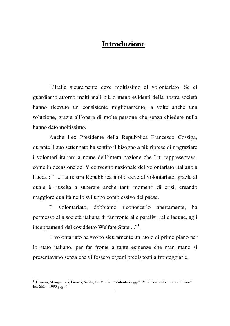 Anteprima della tesi: La formazione nelle associazioni di volontariato, Pagina 1