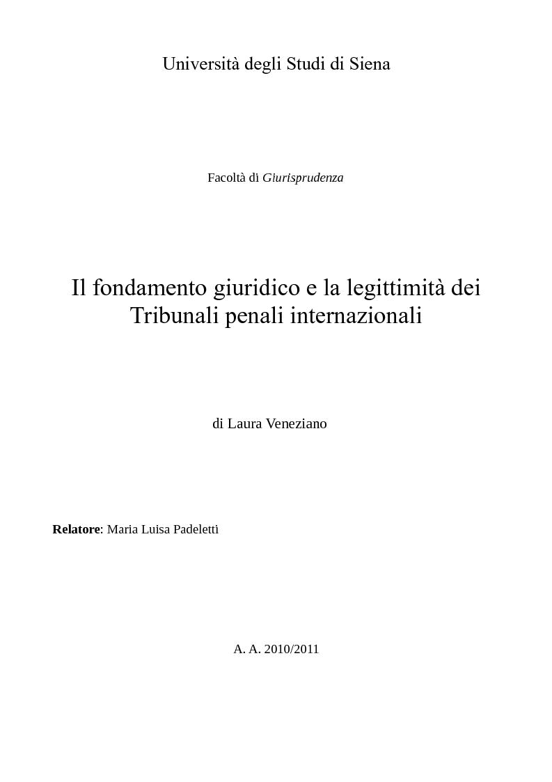 Anteprima della tesi: Il fondamento giuridico e la legittimità dei Tribunali penali internazionali, Pagina 1
