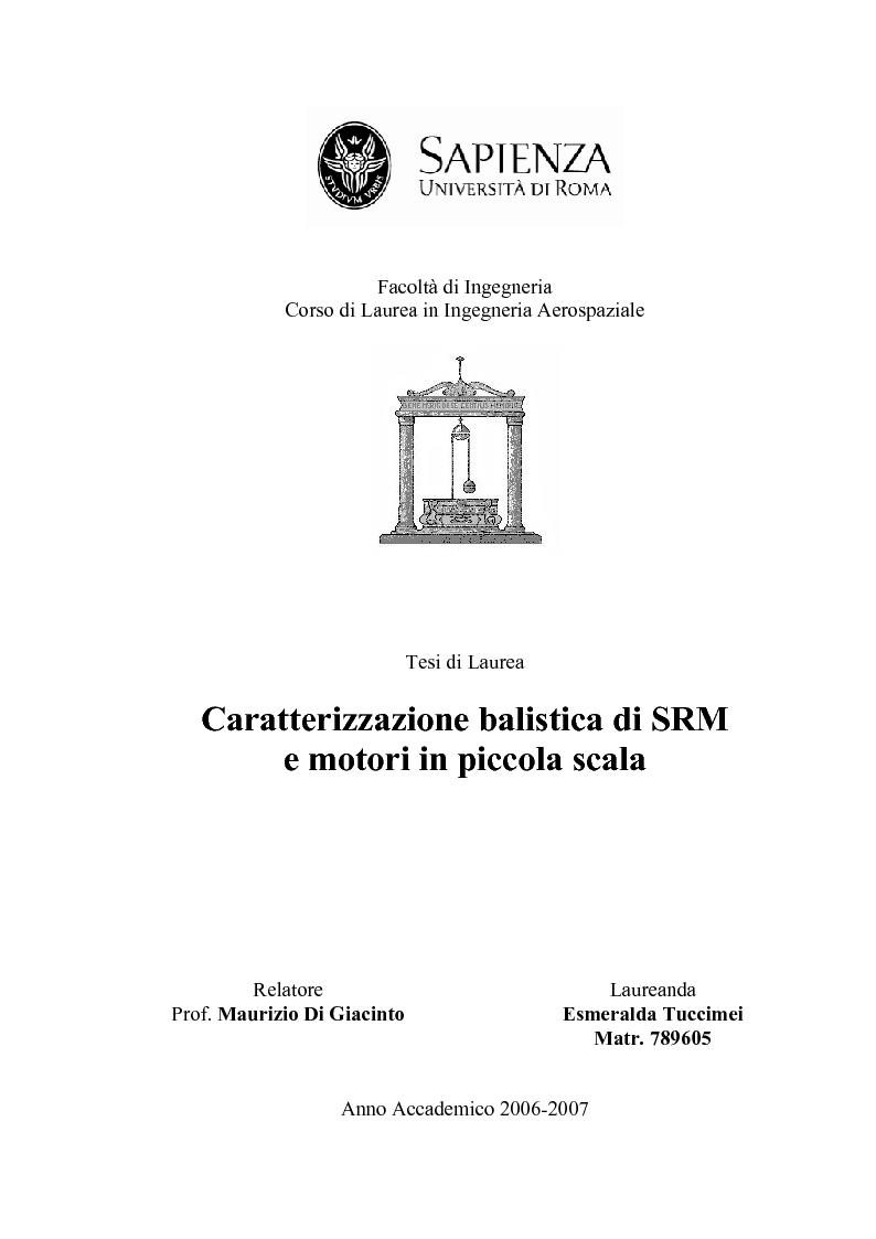 Anteprima della tesi: Caratterizzazione balistica di SRM e motori in piccola scala, Pagina 1