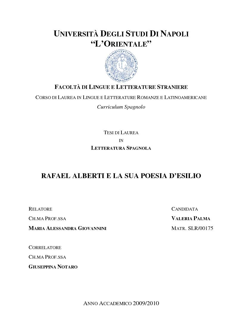 Rafael Alberti E La Sua Poesia D Esilio Anteprima Tesi Pagina 1