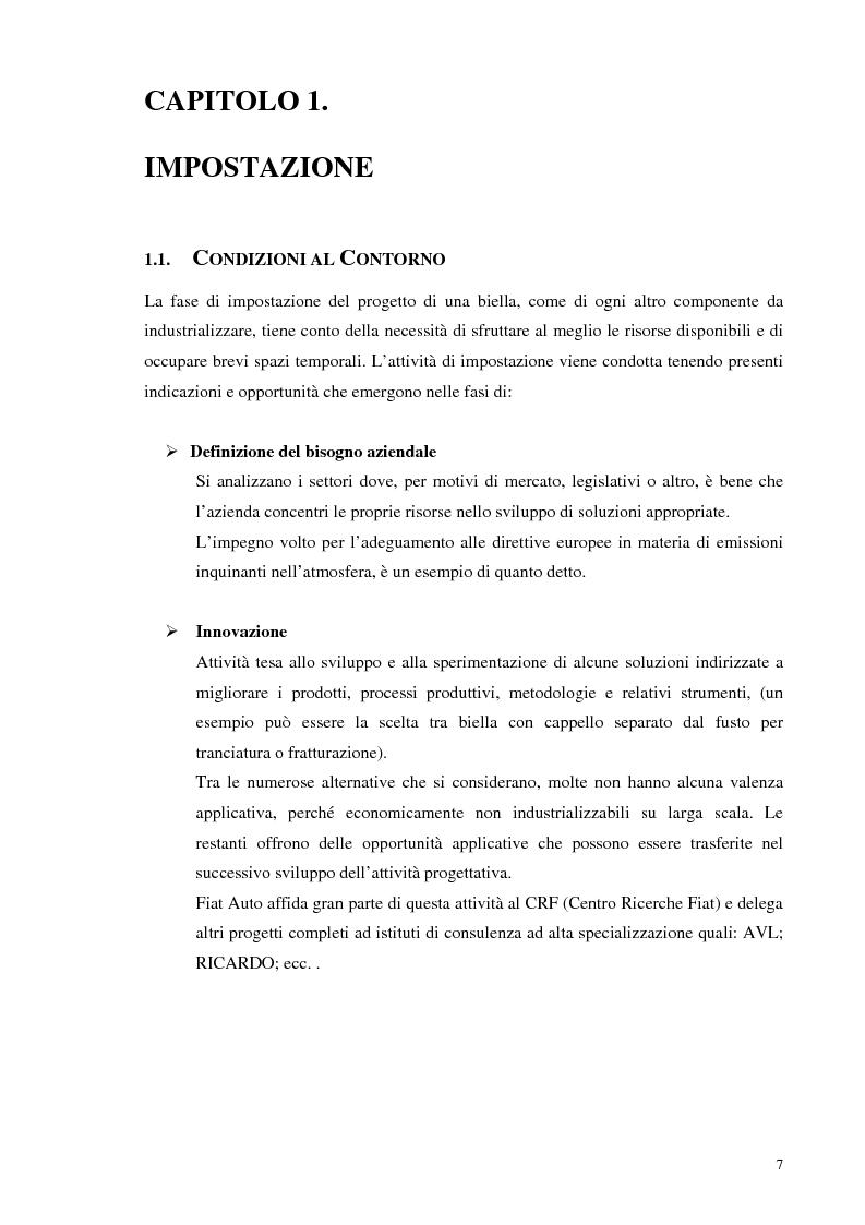 Fasi e attivit� di sviluppo e industrializzazione di una biella per motore endotermico - Tesi di Laurea