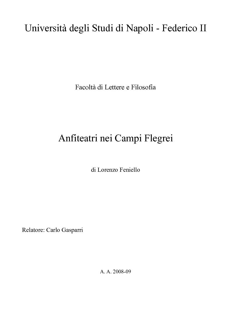 Anteprima della tesi: Anfiteatri nei Campi Flegrei, Pagina 1