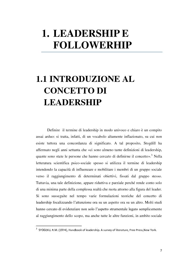 Il processo della leadership: un contributo empirico allo studio dei follower e dei loro leader - Tesi di Laurea
