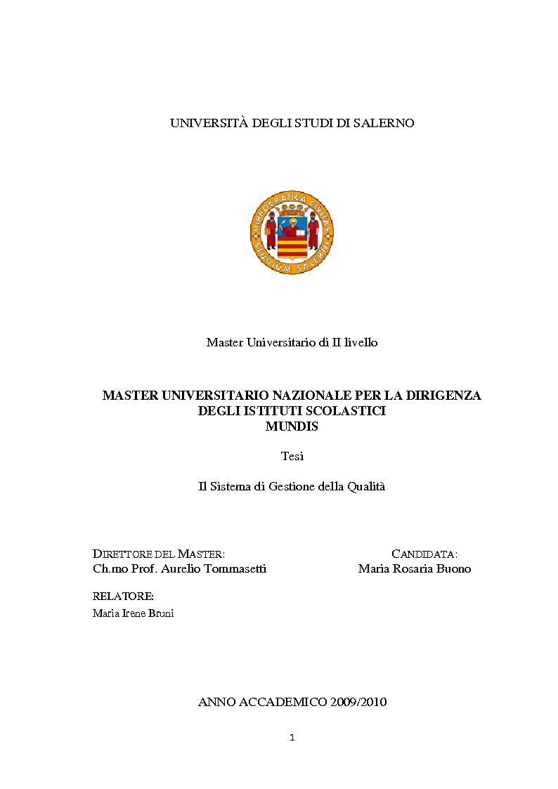 Anteprima della tesi: Il sistema di gestione della Qualità, Pagina 1