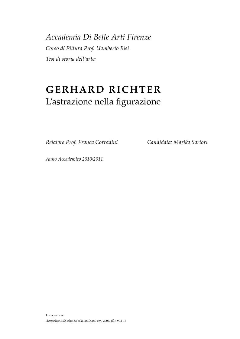 Gerhard Richter - L'astrazione nella figurazione - Tesi di Laurea