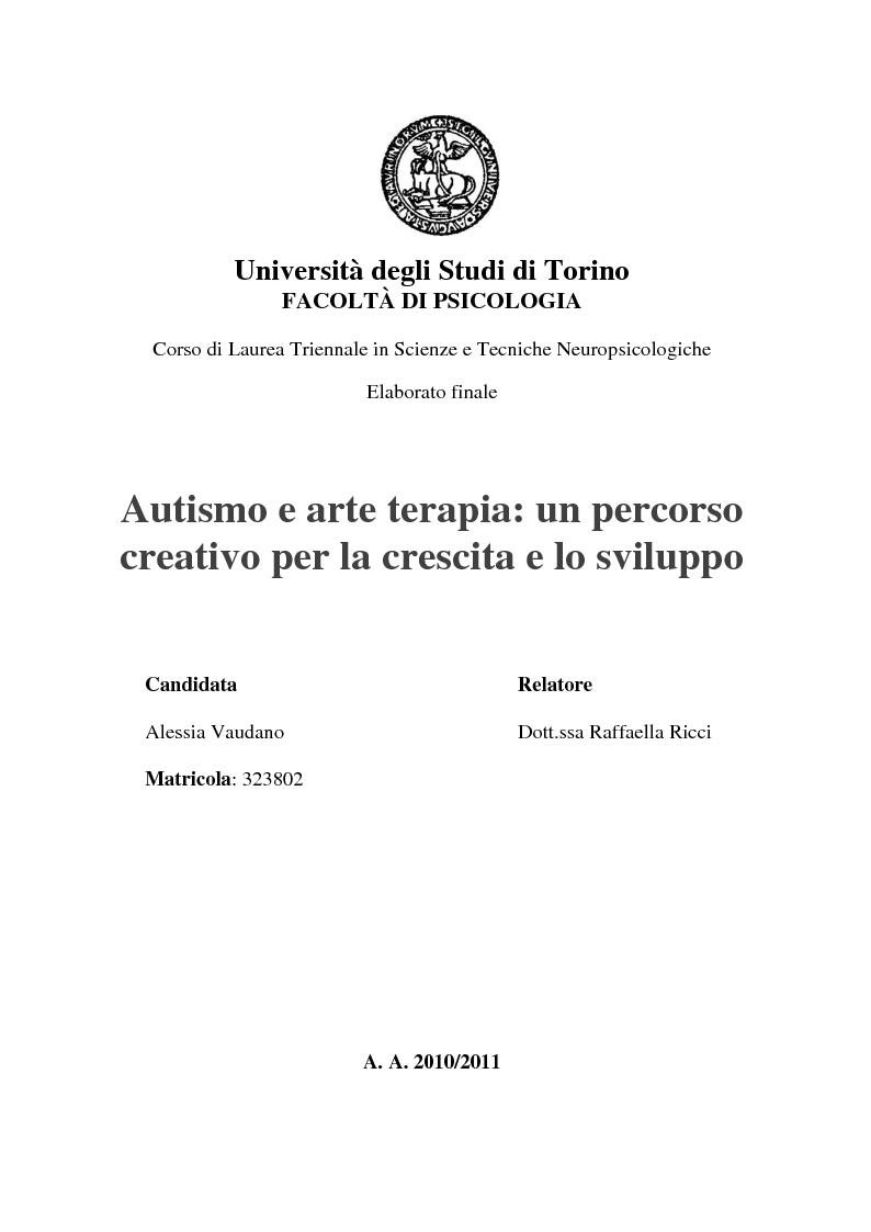 Universit degli studi di torino facolt di psicologia for Tesi autismo e gioco